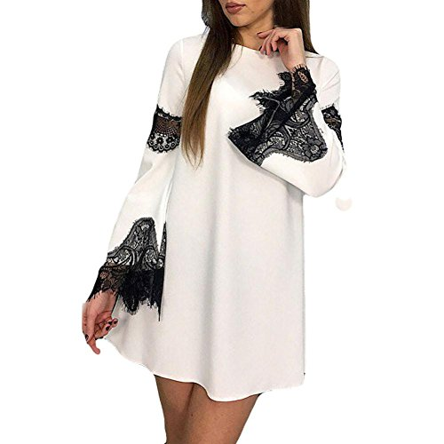 Vogue Vintage Cap (Dresses, Forthery Fashion Women's Casual Loose Long Sleeve Lace Evening Party Mini Dress (White, S))