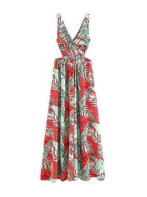 Floerns Women Sexy Sleeveless V-Neck Split Summer Beach Floral Print Maxi Dress