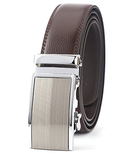ITIEZY Belt for Men Sliding Automatic Buckle Designer Leather Brown Strap (Brown Designer Belts)