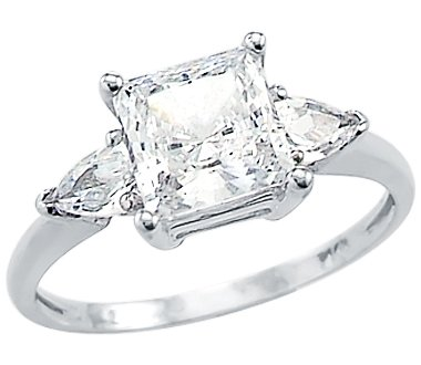 Size- 4 - Solid 14k White Gold Ladies Princess Cut CZ Cubic Zirconia  Engagement Ring