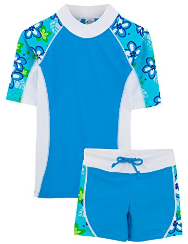 Tuga Girls UPF 50+ Seaside S/S Rash Guard and Swim Short (UV Sun Protective)