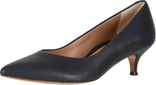 Vionic Women's Kit Josie Kitten Heels - Ladies Pumps with Concealed Orthotic Arch Support Navy Leather 8 W US