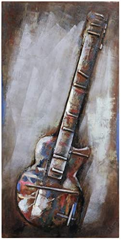 Empire Art Direct Electric Guitar Mixed Media Hand Painted Iron Wall Sculpture by Primo
