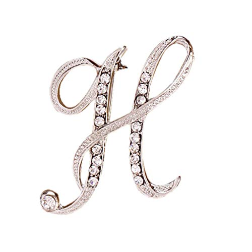 Toponly 1Pcs A to Z 26 English Letters Silver Plated Metal Clear AAA+ Crystal Lapel Pin Brooches Collar