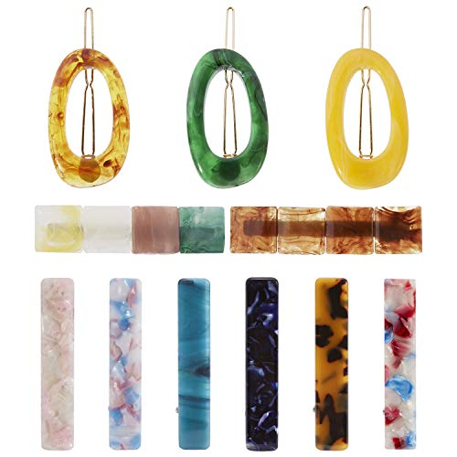 (11 Pack Acrylic Resin Acid Acetate Jelly Rectangle Oval Vintage Retro Hair Clips Leopard Barrettes Geometric Hollow Hairpins Metal Alligator Snap Pins Duckbill Grips Claws Accessories for Women Girl )