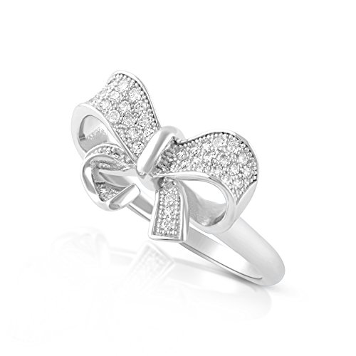 Sterling Silver Simulated Diamond Bow Ring - Size 6 ()