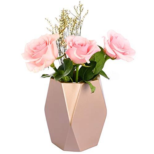 Vase for Flowers, Gold Vase, Flower Vase Decor, Decorative Vase Centerpieces, Modern Vase, Rose Vase, Golden Vase Home Decor, Geometric Vase for Living Room Table, Artificial Flower Vase for ()