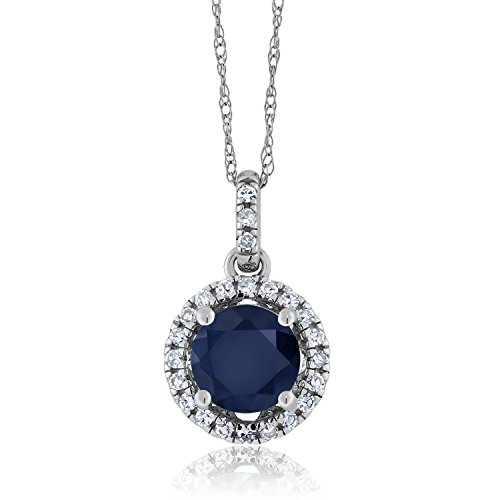 Gem Stone King Blue Sapphire and Diamond 14K White Gold Pendant Necklace 1.17 Ct Round Cut Gemstone Birthstone with 18 Inch Chain