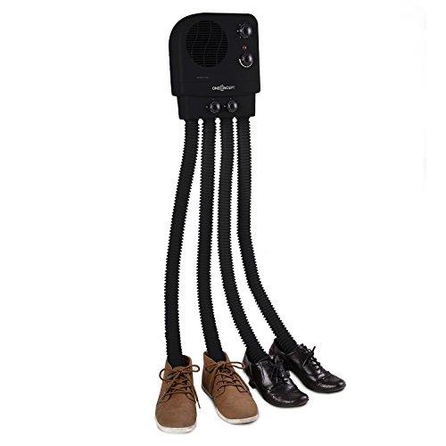 OneConcept Choobidoo séchoir à Chaussures – radiateur pour Chaussures, Chauffe-Chaussures, séchoir à Bottes, 350 W, pour 2 Paires, 4 Flexibles, Combat odeurs et bactéries, Montage Mural, Noir