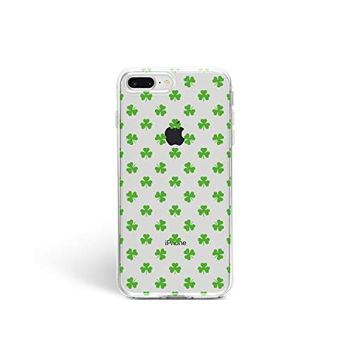 St. Patrick's Day Case Cute Clover Print for iPhone Funny Leprechaun iPhone Case Flexible Cool Art Design Cover (Green Clover, iPhone 7 Plus 8 Plus)