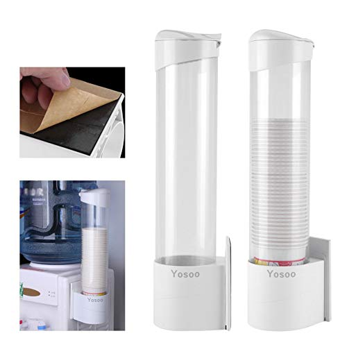 Pull Type Cups Dispenser, Anti-Dust Waterproof Plastic 50 Paper Water Disposable Cup Holder Dispenser Rack Box Container Paste Mounting Water Dispenser Cooler or Wall