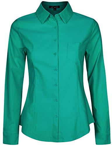 Michel Women's Simple Work Wear Formal Button Down Shirts Tops Jade Small