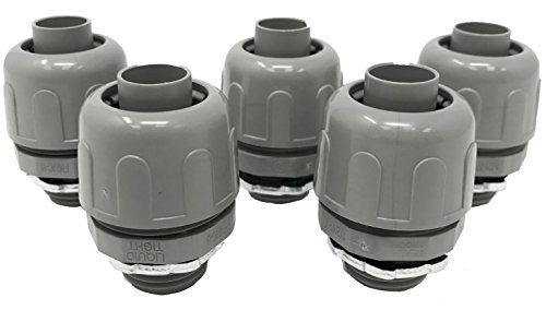 Sealproof 1/2-Inch Non-metallic Liquid Tight Straight Electrical Conduit Connector Fitting, UL Listed, 1/2
