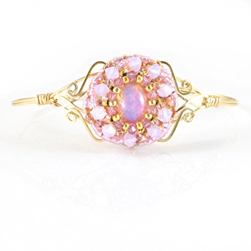 Dainty Art Bracelet Handcrafted in 14K Gold Filled with Vintage Glass and Crystals; One of a Kind