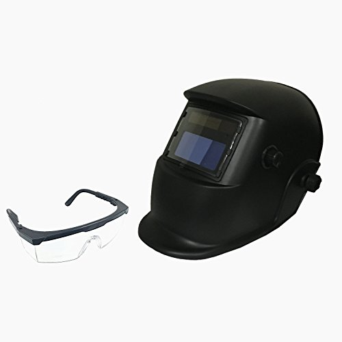 Instapark ADF Series GX-500S-SG Solar Powered Auto Darkening Welding Helmet Black with Adjustable Shade Range #9 - #13 & Safety Protective Goggles with Black Frame & Clear - Shades Sg