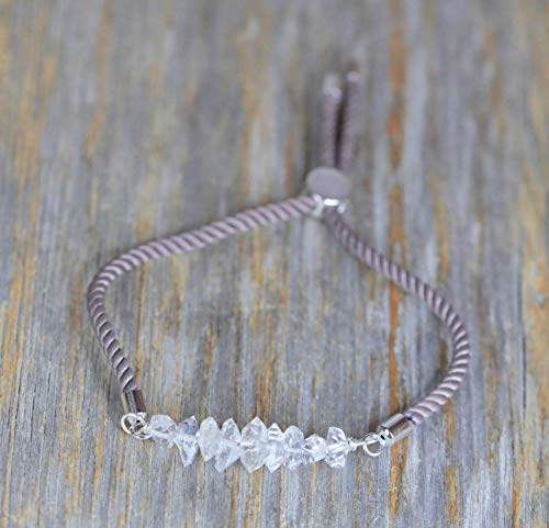 Herkimer Diamond Gemstone Adjustable Beige Drawstring Bracelet Sterling Silver