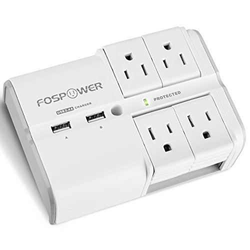 FosPower 4-Outlet Wall Mount Swivel Surge Protector Wall Tap with 2.4A Dual USB Charging Ports, 540 Joules Surge Suppressor, UL Listed (S4WSU2J5)