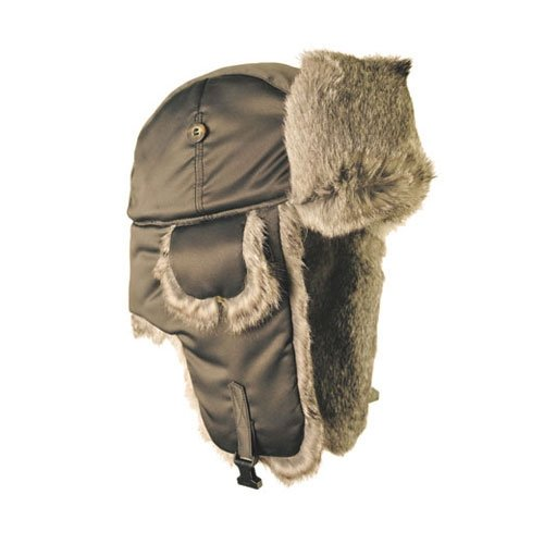 Mad Bomber Original Grey Pilot Bomber Hat Real Rabbit Fur Trapper Hunting Cap, Medium