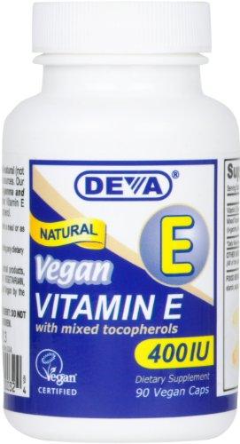 Deva Vegan vitamines naturelles de vitamine E 400 UI avec tocophérols mélangés, 90-Count