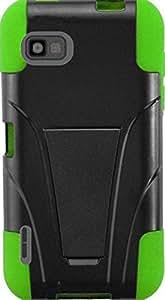 PiGGyB Case for LG Optimus F3 LS720 Black Hard Kickstand Green Skin