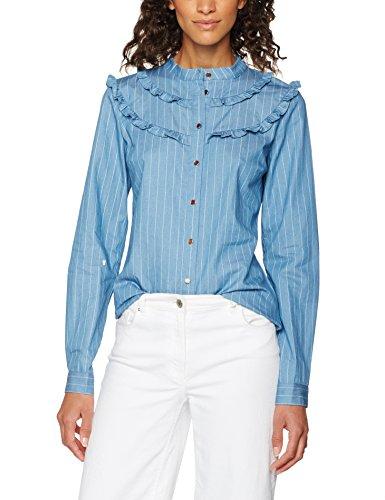 Gestuz Braxton Shirt, Blusa para Mujer Blue (Denim Pink Stripe)