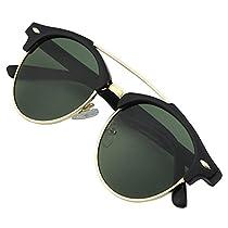 GQUEEN Dapper Fashion Brow Crossbar Polarized Sunglasses Brand Designer GQ52