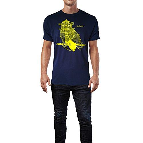 SINUS ART ® Eule auf Ast mit detailliertem Muster Herren T-Shirts in Navy  Blau ...