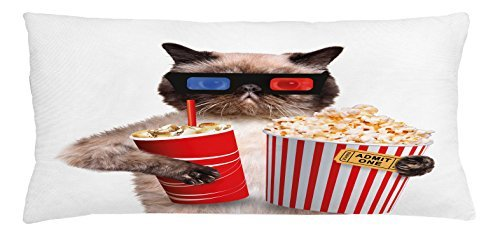 TINA-R Movie Theater Throw Pillow Cushion Cover, Cat with Popcorn and Drink Watching Movie Glasses Entertainment Cinema Fun, Decorative Square Pillow Case, 24 X 16 Inches, Multicolor ()