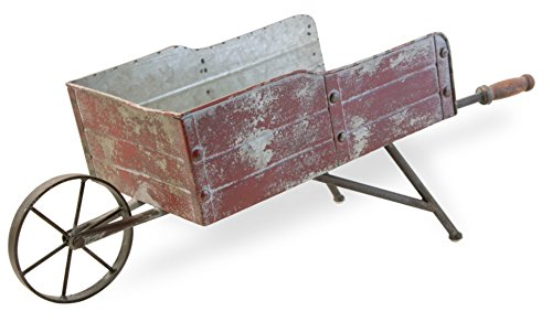Wood Wheelbarrow - Boston International HHC18436 Rustic Large Wheelbarrow Decor, Red