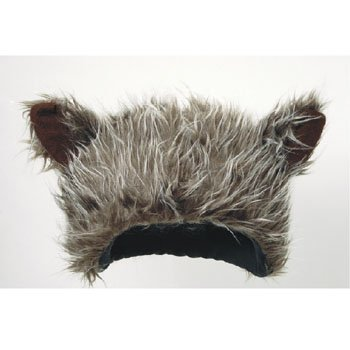 Novelty Furry Wolf Ear Hat Grey, Brown -