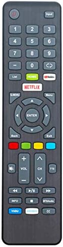 Replacement Remote Control E4SFT5517REM fit for Element Smart 4K Ultra UHD TVs E4SFT5017 E4SFT5517 E4SW5518 with 5 Shortcut Buttons Home YouTube Netflix Vudu Pandora