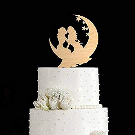 Lesbian moon cake topper, wedding cake of the lady and mothers, decoration for wedding cake, decoration for lesbian cake, weddings, lesbian cakes