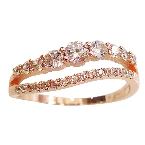 18K-Radiant-Cubic-Zirconia-Wave-Split-Band-Stackable-Ring-Rose-Gold-White-Gold-Plated-Size-4-8