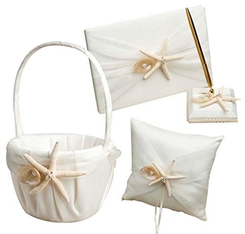 - Dollbling Beach Theme Starfish Seashell Design Ivory Satin Wedding Flower Girl Basket+Ring Pillow+Guest book+Pen Holder Set