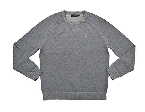 Polo Ralph Lauren Mens Crew Neck Pullover Sweater (Grey, Medium)