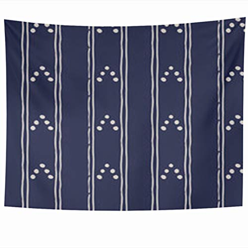 (GisRuRu Tapestry Wall Hanging 60 x 50 Inches Geo Abstract Dark Blue White Ethnic Dot Tribal Simple Folk Uneven Strips Polkadot Polka Russia Tapestries Home Decor Art for Bedroom Living Room Dorm)