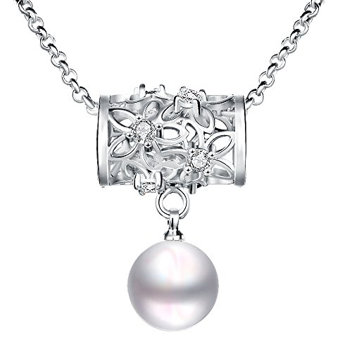 Lovav Party Prom Inlaid Pearl Platinum Plated Women's Girls' Charms Elegant Pendants Necklace