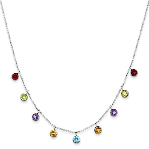 14k White Gold Multi Color Gemstone 2 Inch Extension Chain Necklace Pendant Charm Fine Jewelry Gifts For Women For Her (Clip Charm Bracelet Ariel)