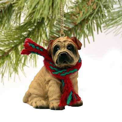 (Shar Pei Miniature Dog Ornament - Cream)