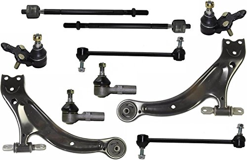 PartsW 10 Pcs Kit Front Lower Control Arms Passenger & Driver Side With Ball Joints Inner & Outer Tie Rod Ends Front Sway Bar End Links