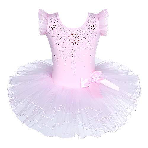 - BAOHULU Girls Leotards Dance Skirted Short Sleeve Rhinestone Ballet Tutu Dress 3-8 Years (Pink Bow, XXL(6-7 Years))
