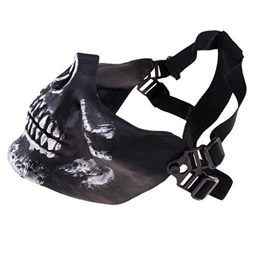 SM SunniMix Halloween Party Skeleton Half Face Mask Skull Protective Cover CS Game for Men Women Team Sports Backyard Games - Silver Black, -