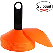 Reehut (Set of 25) Agility Disc Cone with FREE USER E-BOOK & Plastic Holder - Perfect For Soccer, Football & Any Ball Game To Mark - Disc Mini Training Cones - Field Markers