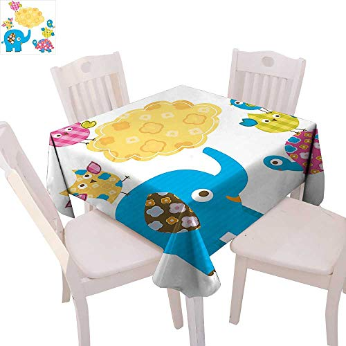 cobeDecor Nursery Dinner Picnic Table Cloth Diverse Cartoon Happy Animals Tortoise Elephant Lovely Yellow Cloud Drawing Style Waterproof Table Cover for Kitchen 54