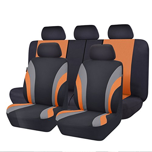 NEW ARRIVAL- CAR PASS Line Rider 11PCS Universal Fit Car Seat Cover -100% Breathable With 5mm Composite Sponge Inside,Airbag Compatible (Black And Orange)