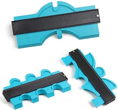 MEYUEWAL Contour Gauge Duplicator - 10 Inch Plastic Profile Copy Gauge Edge Shaping Measure Ruler Marking Tool Perfect Tiling Laminate Tiles General Tools (Green)