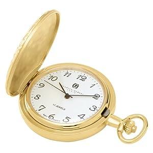 Charles Hubert 3842 Gold-Plated Mechanical Pocket Watch