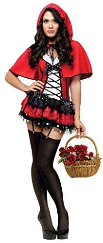 Fun World Deluxe Hot Riding Hood, Red, 10-12 Medium Costume