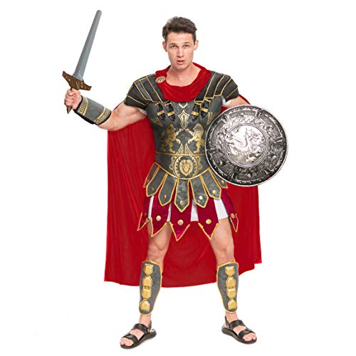 Brave Men's Roman Gladiator Costume Set for Halloween Audacious Dress Up Party (Standard) Brown]()