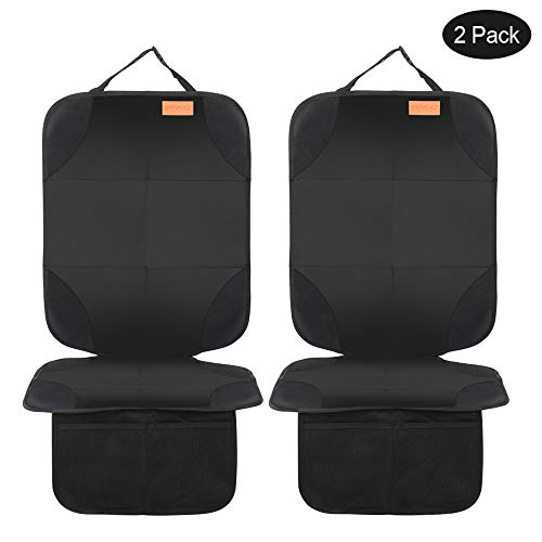 Smart elf Car Seat Protector, 2Pack Seat Protector Protects Child Seats with Thickest Padding and Non-Slip Backing Mesh Pockets for Baby and Pet (The Best Child Car Seat)